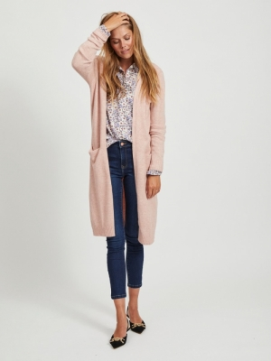 VIRIL L-S LONG KNIT CARDIGAN-N Misty Rose/MELA