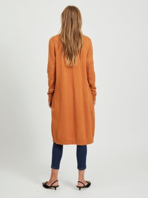 VIRIL L-S LONG KNIT CARDIGAN-N Pumpkin Spice/M