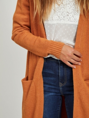 VIRIL LONG L-S  KNIT CARDIGAN Pumpkin Spice/M