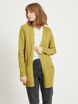 VIRIL OPEN L-S KNIT CARDIGAN - Green Olive/MEL