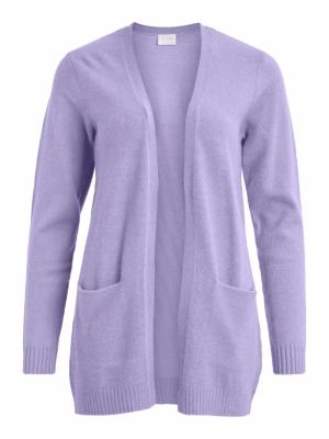 VIRIL OPEN L-S KNIT CARDIGAN - Lavender/MELANG
