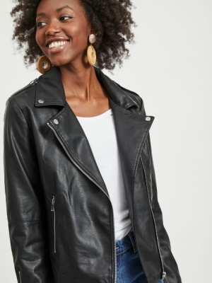 VICARA FAUX  LEATHER JACKET-NO Black