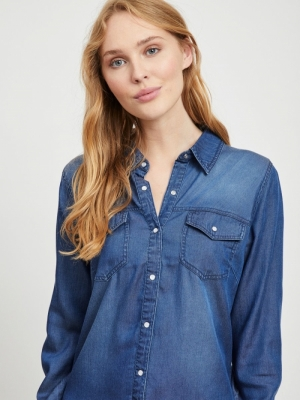 VIBISTA DENIM SHIRT-NOOS Dark Blue Denim