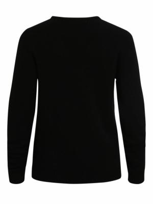VIRIL L-S V-NECK KNIT TOP-NOOS Black