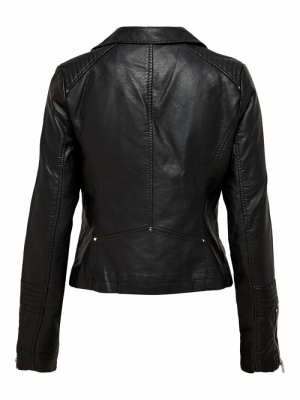 onlGEMMA FAUX LEATHER BIKER OT Black