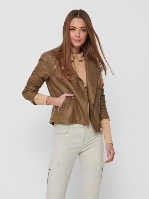 onlGEMMA FAUX LEATHER BIKER OT Cognac