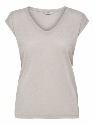 ONLSILVERY S-S V NECK LUREX TO Sepia Rose