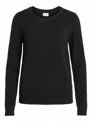 VIRIL L-S O-NECK KNIT TOP-NOOS Black