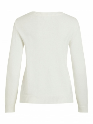 VIRIL L-S O-NECK KNIT TOP-NOOS White Alyssum