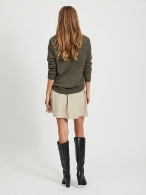 VIRIL L-S O-NECK KNIT TOP-NOOS Forest Night/ME