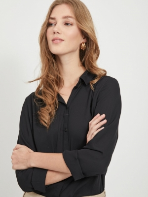 VILUCY L-S BUTTON SHIRT - NOOS Black