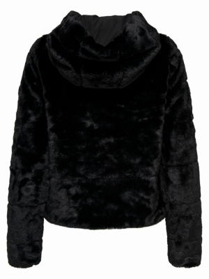 ONLCHRIS FUR HOODED JACKET OTW Black