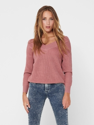 ONLMELTON LIFE L-S PULLOVER KN Dusty Rose