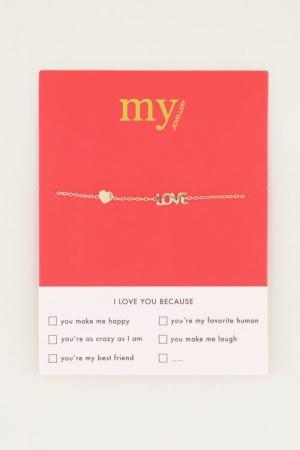 Armband met love en hartje gold