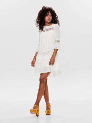 ONLTYRA 3-4 FLARE SHORT DRESS Cloud Dancer