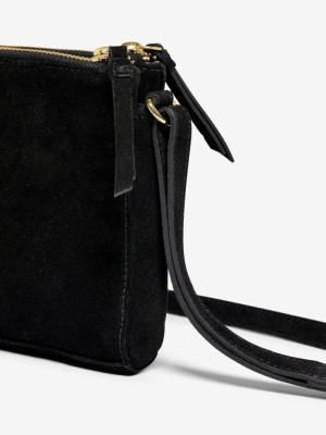 ONLTRACY LEATHER SUEDE CLUTCH Black