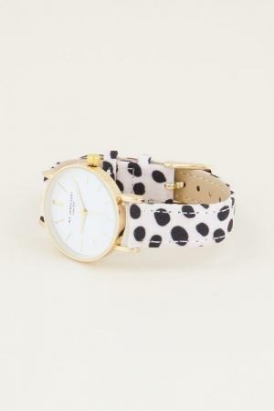 Cheetah horloge wit Goud ONESI logo