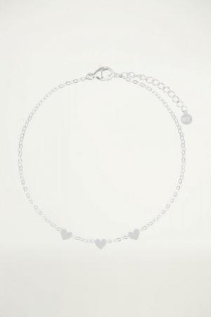 Armband met 3 hartjes Zilver O logo