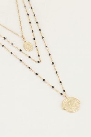 Driedubbele ketting muntjes en goud