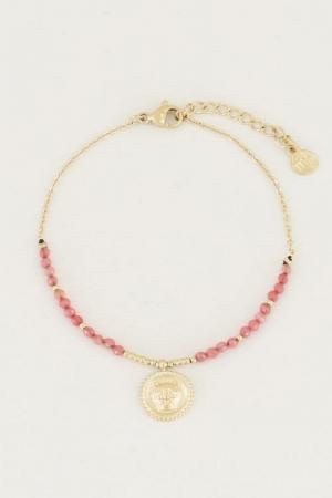 Armband bedel & red jade Goud logo
