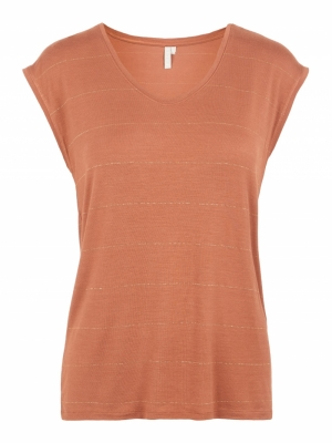 PCBILLY SS TEE BIG SPACE STRIP Copper Brown
