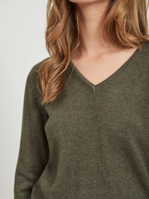 VIRIL V-NECK L-S  KNIT TOP - N logo