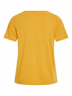 VIMODALA V-NECK S-S T-SHIRT C1 Mineral Yellow