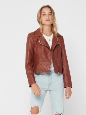 JDYSIMBA FAUX LEATHER JACKET O Cherry Mahogany