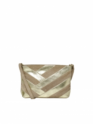 ONLJOANNA LEATHER PARTY CLUTCH Humus/GOLD FOIL