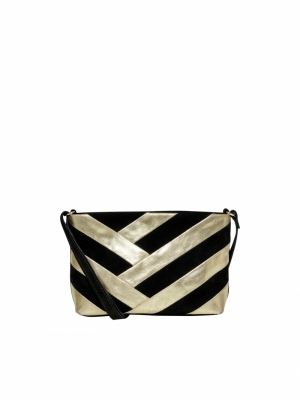 ONLJOANNA LEATHER PARTY CLUTCH Black/GOLD FOIL