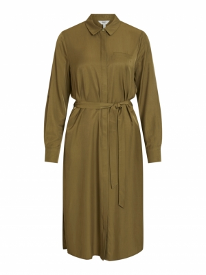 OBJEILEEN L-S SHIRT DRESS NOOS Burnt Olive
