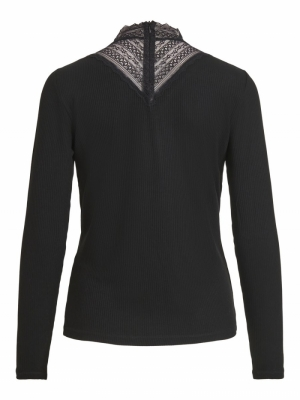 VISOLITTA RIB LACE L-S TOP-SU Black