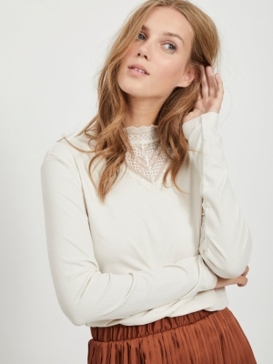 VISOLITTA RIB LACE L-S TOP-SU Birch