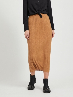 OBJTILIA LONG SKIRT 111 Chipmunk