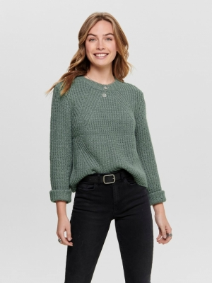 ONLFIONA L-S PULLOVER KNT NOOS Balsam Green/WH
