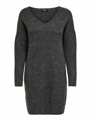 ONLJADA L-S DRESS KNT NOOS Dark Grey Melan