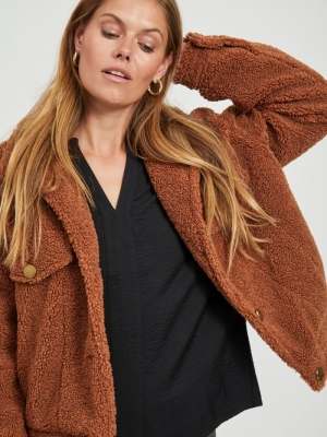 VIABBI SHORT TEDDY JACKET-SU Tortoise Shell