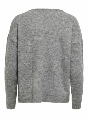 JDYELANORA L-S V-NECK PULLO. K Dark Grey Melan