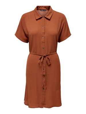 ONLNOVA LUX S-S SHIRT DRESS SO Ginger Bread