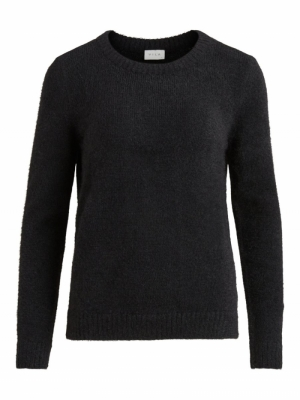 VIFEAMI O-NECK L-S KNIT TOP-SU Black