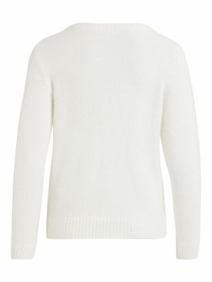 VIFEAMI O-NECK L-S KNIT TOP-SU Whisper White