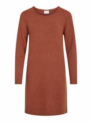 VIRIL L-S KNIT DRESS - NOOS Tortoise Shell/