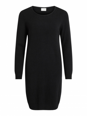 VIRIL L-S KNIT DRESS - NOOS Black