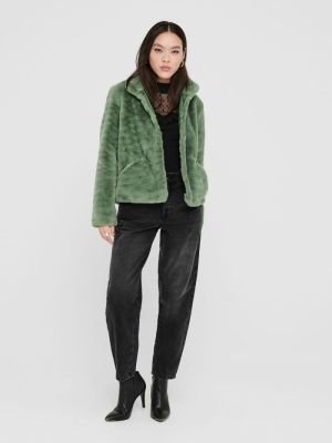 ONLVIDA FAUX FUR JACKET OTW NO Deep Lichen Gre