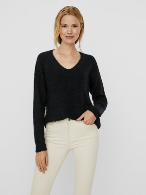 VMCREWLEFILE LS V-NECK BLOUSE Black