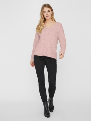 VMCREWLEFILE LS V-NECK BLOUSE Sepia Rose/MELA