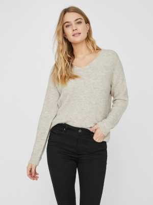 VMCREWLEFILE LS V-NECK BLOUSE Birch/W. SILVER