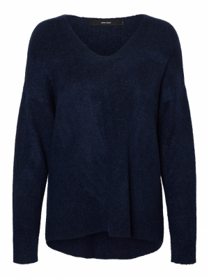 VMCREWLEFILE LS V-NECK BLOUSE Navy Blazer/MEL