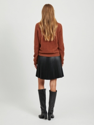 VIFEAMI ROLLNECK L-S KNIT TOP- Tortoise Shell