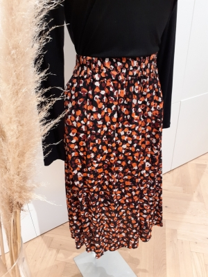 PCRAYA HW MIDI SKIRT Black/ANIMAL